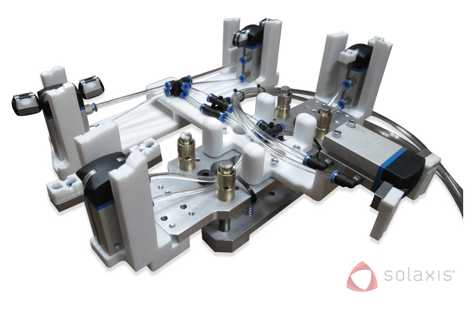 Robotic hand section for use on a large-volume production line